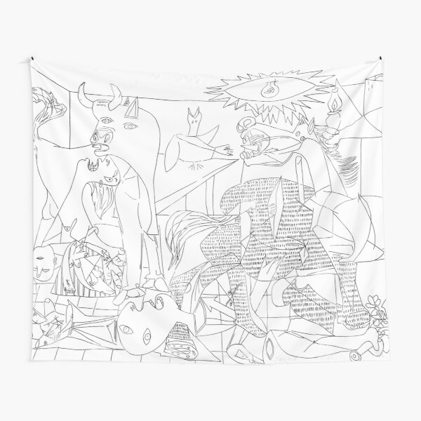 Picasso Line Art - Guernica Tapestry