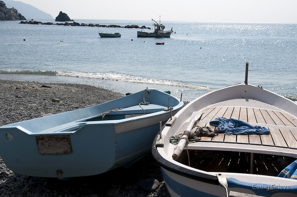 Boats in Monterosso by Cathy Grieve