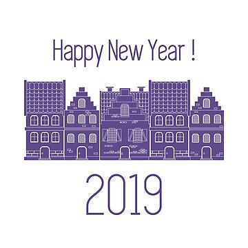 Happy New Year 2019 card. Vector houses. by aquamarine-p