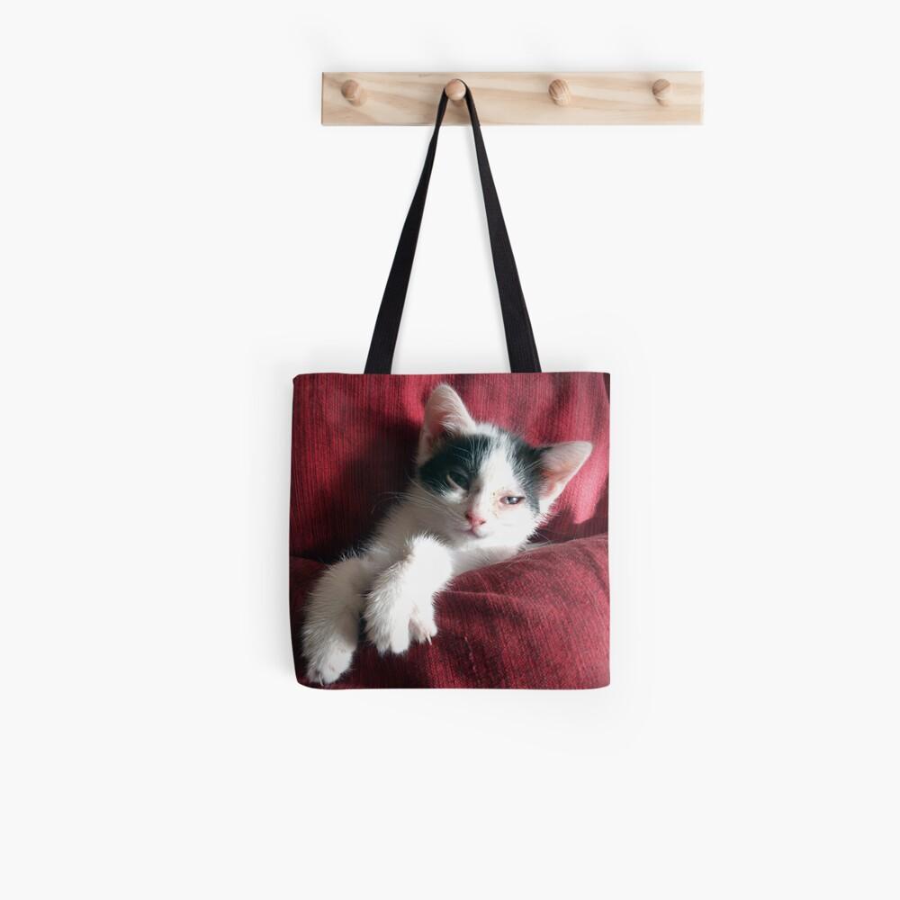 Katze in Rot Stofftasche