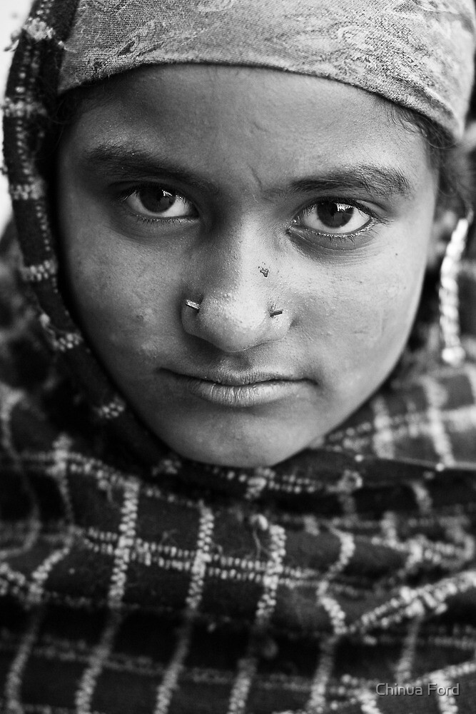 Gypsy Girl with Shawl - Himilayan Faces by Chinua Ford