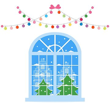 New Year, Christmas window. Winter landscape. by aquamarine-p