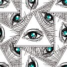 All Seeing Eye Abstract Triangle Pattern  by Patterns Galore