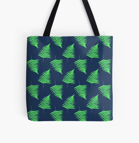 Navy and Lime Fern Pattern All Over Print Tote Bag