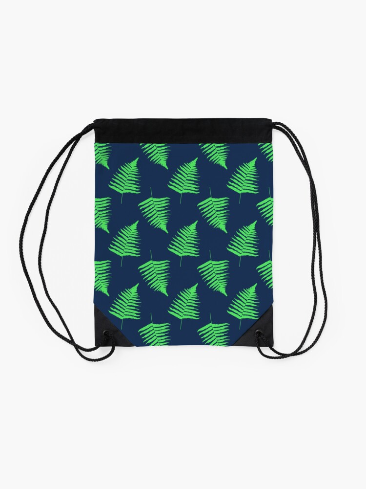 Alternate view of Navy and Lime Fern Pattern Drawstring Bag