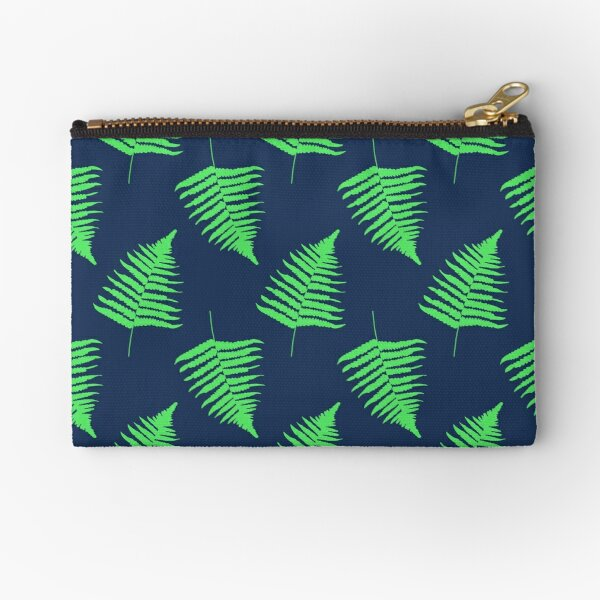 Navy and Lime Fern Pattern Zipper Pouch