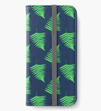 Navy and Lime Fern Pattern iPhone Wallet/Case/Skin