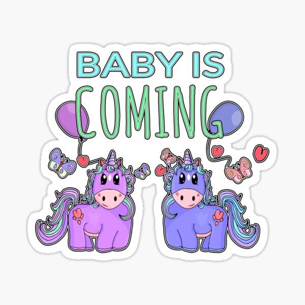 Baby is Coming Cute Unicorn Pregnancy Design Sticker