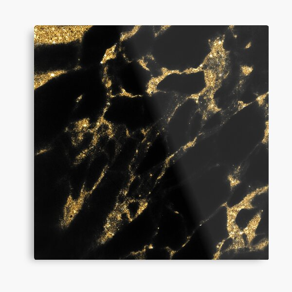 Black and Gold Minimanl Marble Design Metal Print