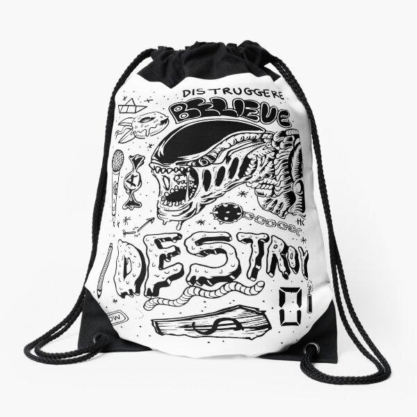 Black traditional flash set illustration - Alien & Destroy Drawstring Bag