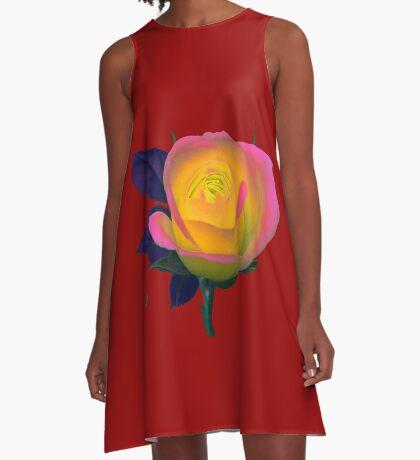 wundervoll leuchtende Rose A-Linien Kleid