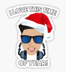 Funny DJ Pauly D Christmas I Love This TIme of Year! Sticker