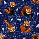 Red Pandas Pattern by freeminds