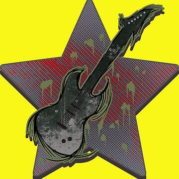 Electric Guitar Grunge Design by AK1Shirts
