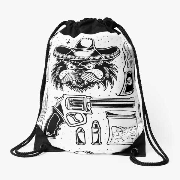 El Gato Escobar - traditional black tattoo flash set Drawstring Bag
