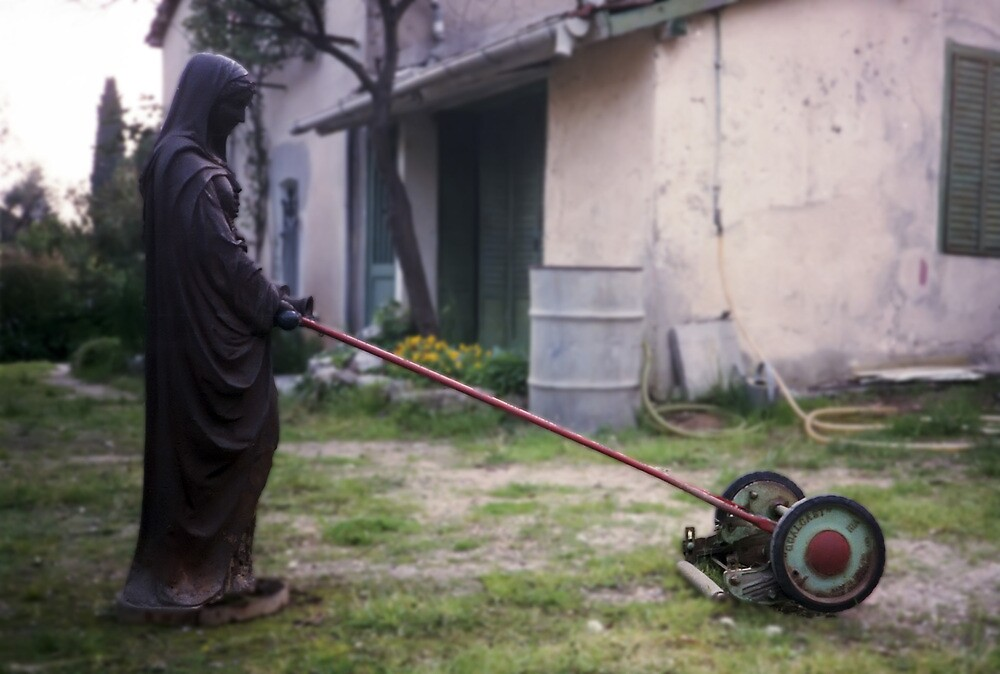 Our lady of the lawn mower by Pascal and Isabella Inard