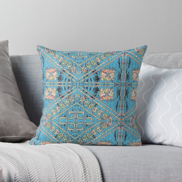 Fijian Tapa Cloth 27C by Hypersphere Throw Pillow