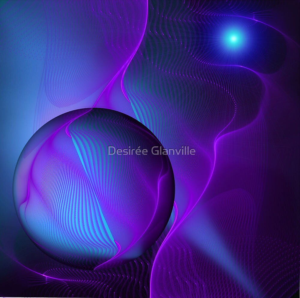 Abstract Fractal Smokey Waves Embracing Purple Blue Light Sphere by Desirée Glanville