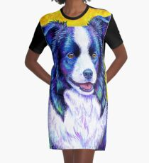 Colorful Border Collie Dog Graphic T-Shirt Dress