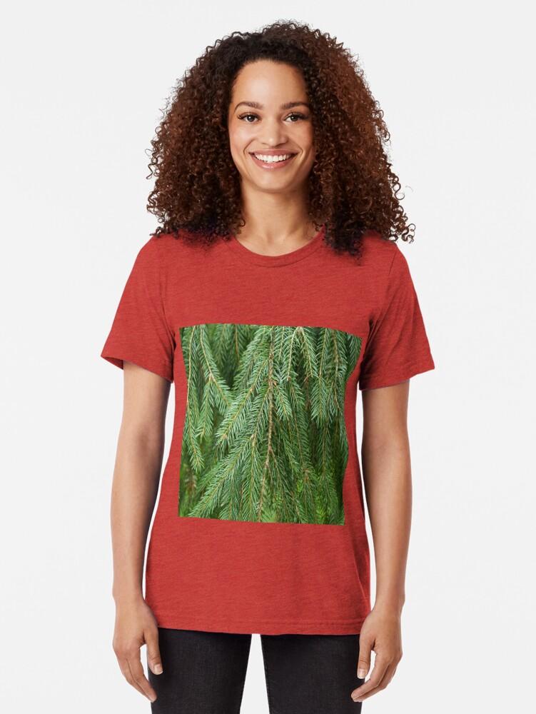 Alternate view of Pine Tree Closeup Tri-blend T-Shirt