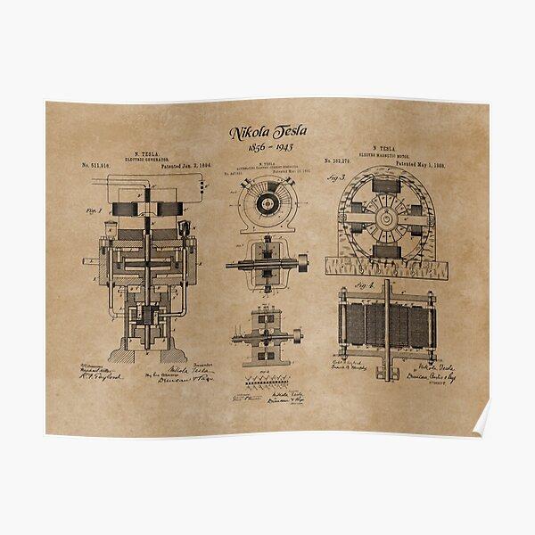Nikola Tesla Electric Generator Inventions Patent Blueprints Poster