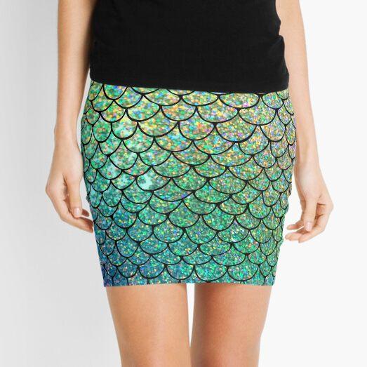 Colorful Glitter Mermaid Scales Mini Skirt