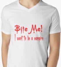 Bite Me I Want To Be A Vampire Mens V-Neck T-Shirt