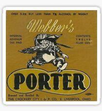 Webber PORTER bottle label Sticker