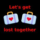 Let's Get Lost Together Suitcases Dark Color by TinyStarAmerica