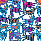 Colorful Abstract Coyote's by ntartworks