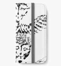 Black & White White Abstract Angels iPhone Wallet/Case/Skin