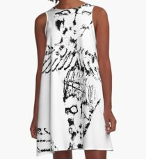 Black & White Abstract Angels A-Line Dress