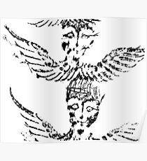 Black & White Abstract Angels Poster
