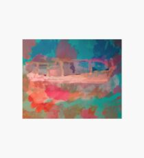 Abstract Laundry Boat in Blue, Green, Orange and Pink Art Board