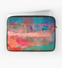 Abstract Laundry Boat in Blue, Green, Orange and Pink Laptop Sleeve