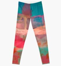 Abstract Laundry Boat in Blue, Green, Orange and Pink Leggings