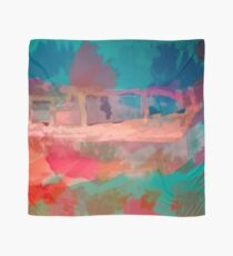 Abstract Laundry Boat in Blue, Green, Orange and Pink Scarf
