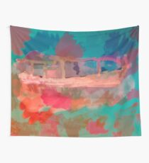 Abstract Laundry Boat in Blue, Green, Orange and Pink Wall Tapestry