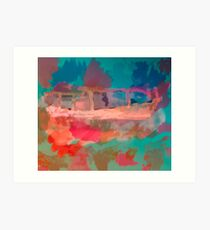 Abstract Laundry Boat in Blue, Green, Orange and Pink Art Print