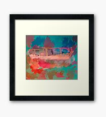 Abstract Laundry Boat in Blue, Green, Orange and Pink Framed Print