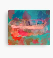 Abstract Laundry Boat in Blue, Green, Orange and Pink Metal Print