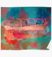 Abstract Laundry Boat in Blue, Green, Orange and Pink Poster