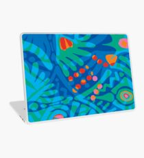 Colorful Tropical Print Abstract in Blue and Green Laptop Skin