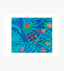 Colorful Tropical Print Abstract in Blue and Green Art Print