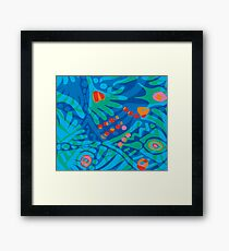 Colorful Tropical Print Abstract in Blue and Green Framed Print
