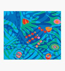 Colorful Tropical Print Abstract in Blue and Green Photographic Print