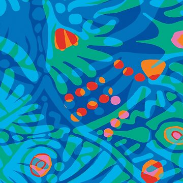 Colorful Tropical Print Abstract in Blue and Green by ntartworks