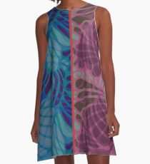 Blue and Purple Abstract A-Line Dress