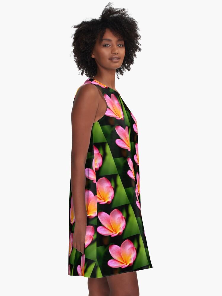 Alternative Ansicht von Frangipani im Rosa A-Linien Kleid