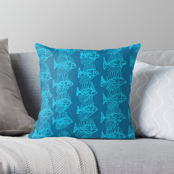 Blue Tropical Fish Abstract Throw Pillow